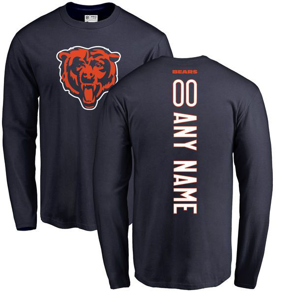 Men Chicago Bears NFL Pro Line Navy Custom Backer Long Sleeve T-Shirt