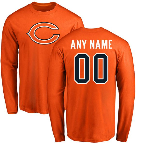 Men Chicago Bears NFL Pro Line Orange Custom Name and Number Logo Long Sleeve T-Shirt