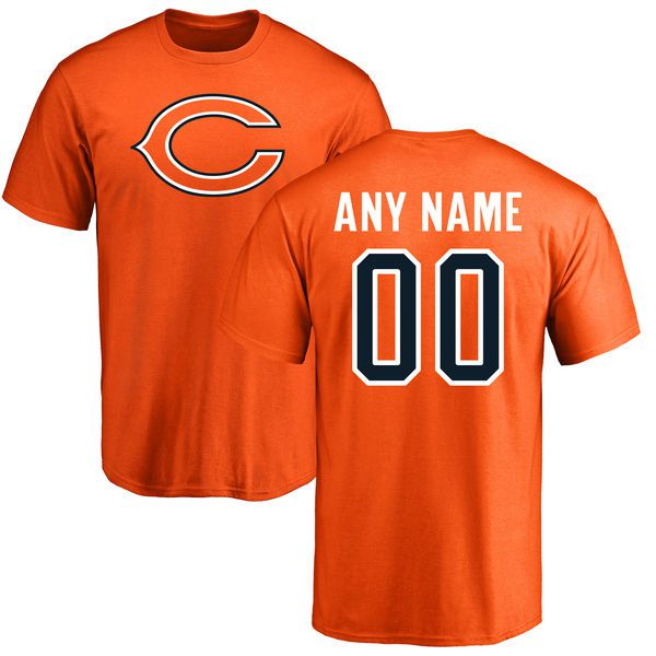 Men Chicago Bears NFL Pro Line Orange Custom Name and Number Logo T-Shirt
