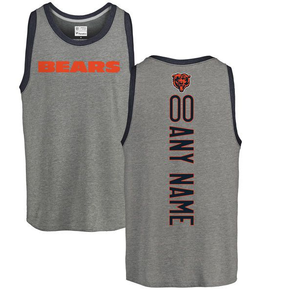 Men Chicago Bears NFL Pro Line by Fanatics Branded Ash Custom Backer Tri-Blend Tank Top T-Shirt