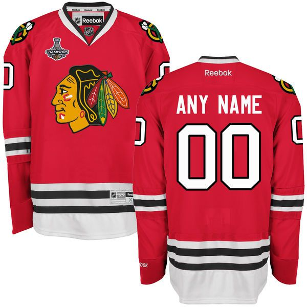 Men Chicago Blackhawks Reebok Red 2015 Stanley Cup Champions Premier Home Custom NHL Jersey