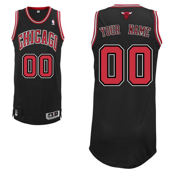 Men Chicago Bulls Black Custom Authentic NBA Jersey