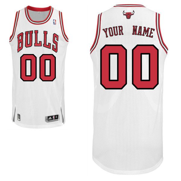 Men Chicago Bulls White Custom Authentic NBA Jersey