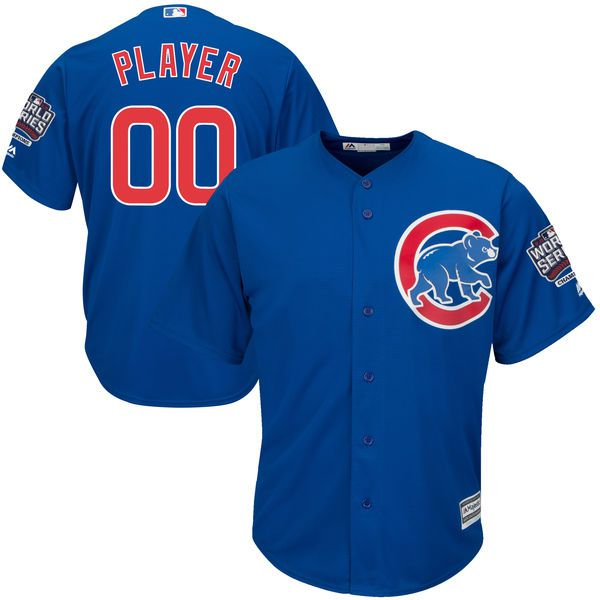 Men Chicago Cubs Majestic Alternate Royal Blue 2016 World Series Champions Cool Base Replica Custom MLB Jersey