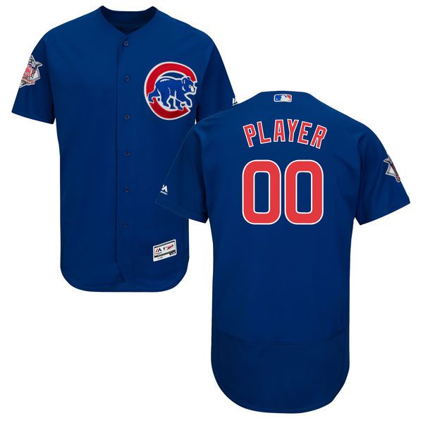 Men Chicago Cubs Majestic Alternate Royal Blue Flex Base Authentic Collection Custom MLB Jersey