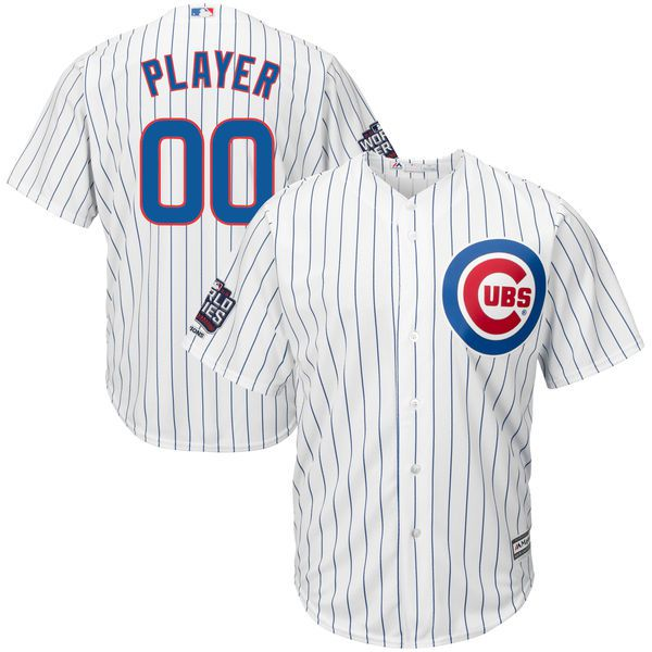 Men Chicago Cubs Majestic Home White 2016 World Series Champions Cool Base Replica Custom MLB Jersey