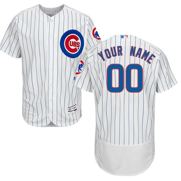Men Chicago Cubs Majestic Home White Royal Flex Base Authentic Collection Custom MLB Jersey