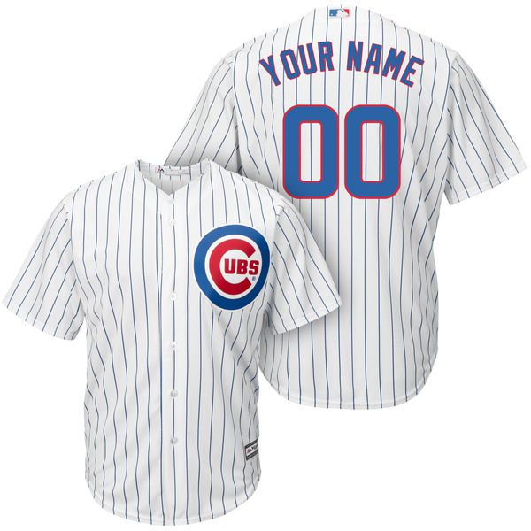 Men Chicago Cubs Majestic White and Royal Cool Base Custom MLB Jersey
