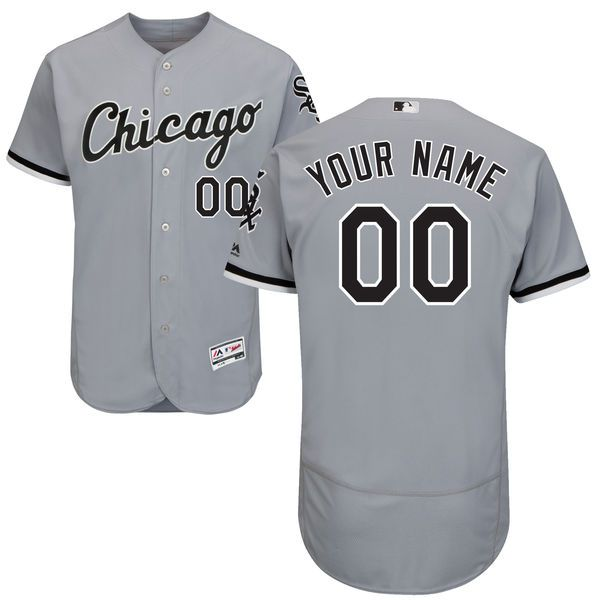 Men Chicago White Sox Majestic Road Gray Flex Base Authentic Collection Custom MLB Jersey