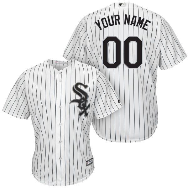 Men Chicago White Sox Majestic White And Black Home Cool Base Custom MLB Jersey