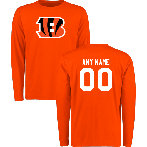 Men Cincinnati Bengals Design-Your-Own Long Sleeve Custom NFL T-Shirt