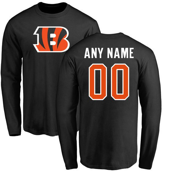 Men Cincinnati Bengals NFL Pro Line Black Any Name and Number Logo Custom Long Sleeve T-Shirt