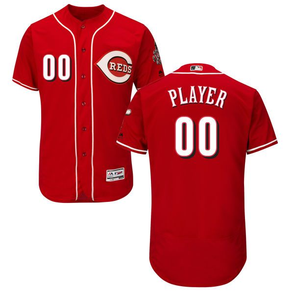 Men Cincinnati Reds Majestic Alternate Red Scarlet Flex Base Authentic Collection Custom MLB Jersey
