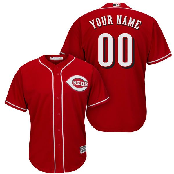 Men Cincinnati Reds Majestic Red Cool Base Custom MLB Jersey