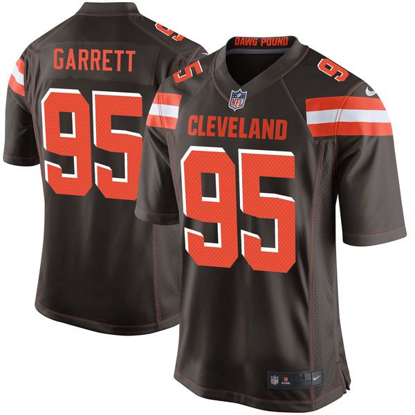 Men Cleveland Browns 95 Myles Garrett Nike Brown 2017 Draft Pick Game NFL Jersey