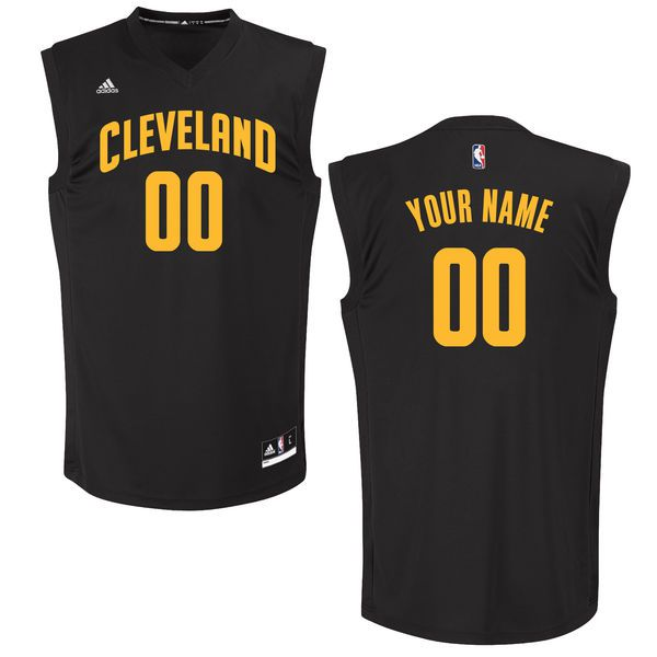 Men Cleveland Cavaliers Adidas Black Custom Chase NBA Jersey