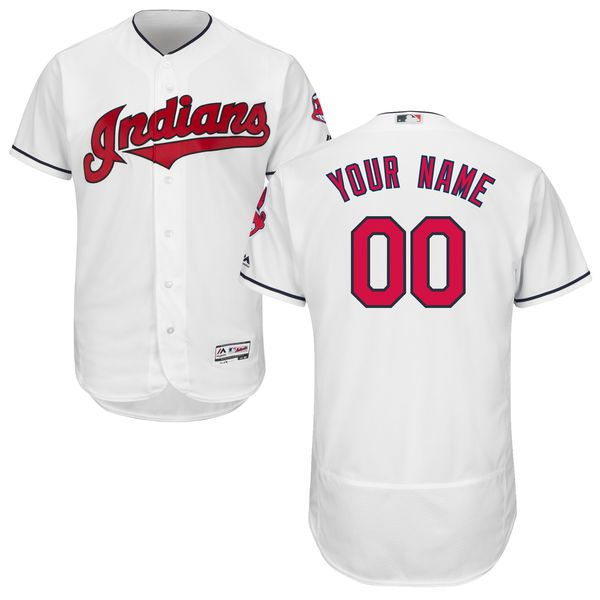Men Cleveland Indians Majestic Home White Flex Base Authentic Collection Custom MLB Jersey