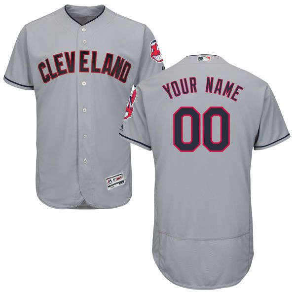 Men Cleveland Indians Majestic Road Gray Flex Base Authentic Collection Custom MLB Jersey