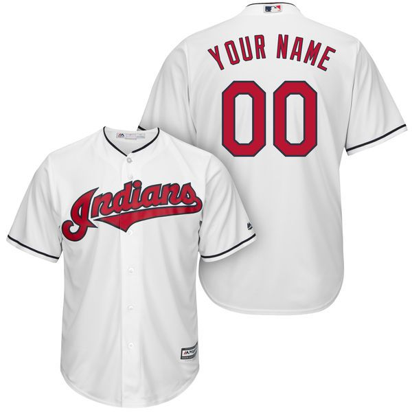 Men Cleveland Indians Majestic White Cool Base Custom MLB Jersey
