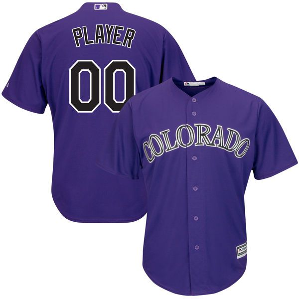 Men Colorado Rockies Majestic Purple Alternate Cool Base Custom MLB Jersey