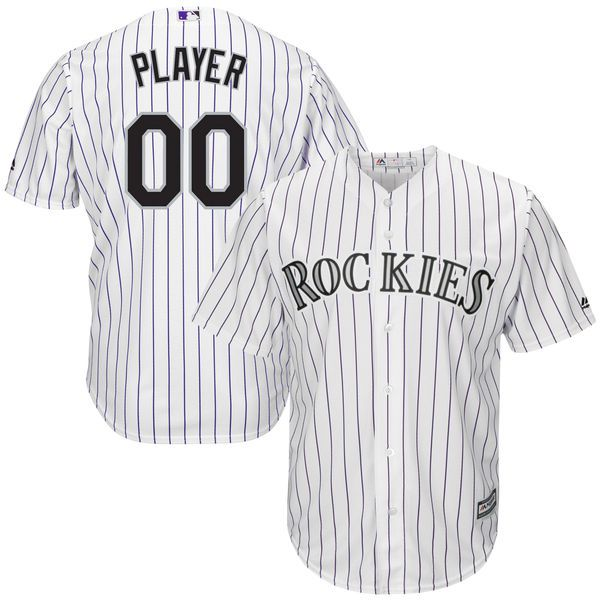 Men Colorado Rockies Majestic White Home Cool Base Custom MLB Jersey
