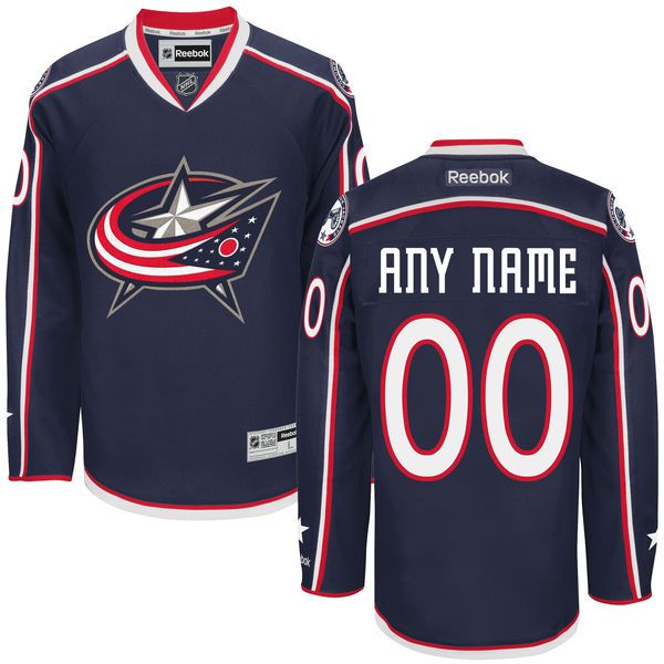 Men Columbus Blue Jackets Reebok Navy Premier Home Custom NHL Jersey