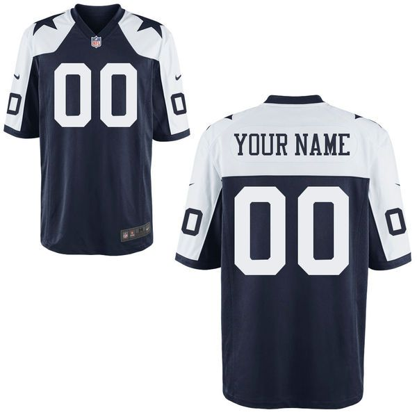 Men Dallas Cowboys Custom Blue Throwback Game NFL Jersey