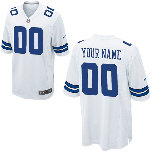 Men Dallas Cowboys Custom Game White NFL Jersey