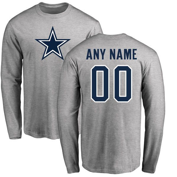 Men Dallas Cowboys NFL Pro Line by Fanatics Branded Ash Custom Name and Number Logo Long Sleeve T-Shirt