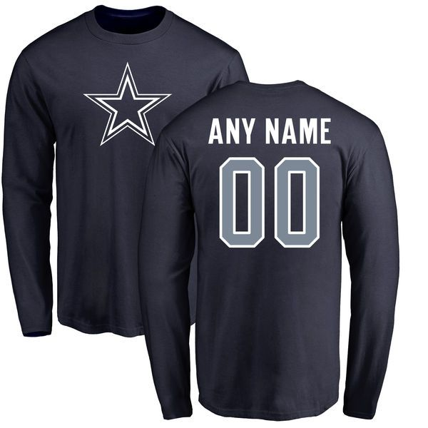 Men Dallas Cowboys NFL Pro Line by Fanatics Branded Navy Custom Name and Number Long Sleeve T-Shirt