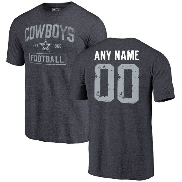 Men Dallas Cowboys NFL Pro Line by Fanatics Branded Navy Custom Name and Number Tri-Blend T-Shirt