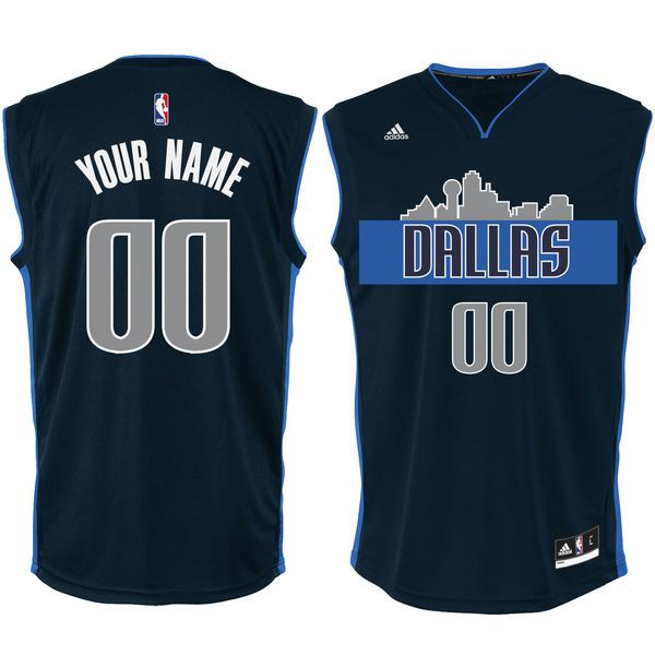 Men Dallas Mavericks Adidas Navy Alternate Custom Replica NBA Jersey