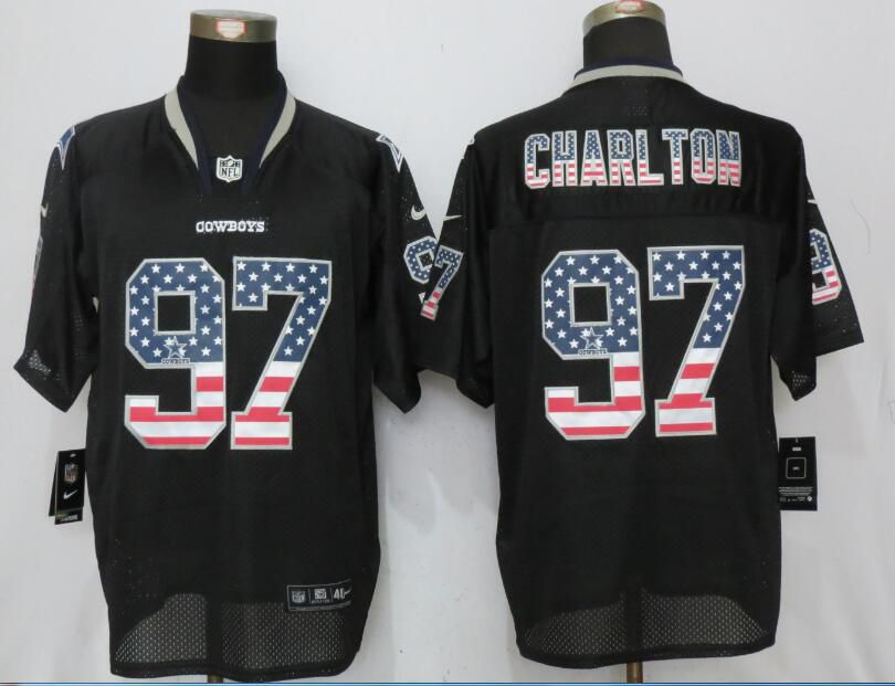 Men Dallas cowboys 97 Charlton USA Flag Fashion Black New Nike Elite NFL Jersey