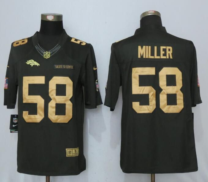 Men Denver Broncos 58 Miller Gold Anthracite Salute To Service NEW Nike Limited NFL Jersey