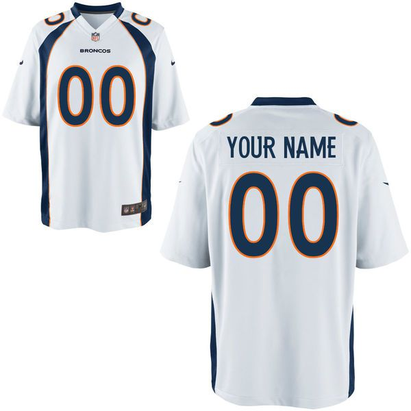 Men Denver Broncos Custom Game White NFL Jersey