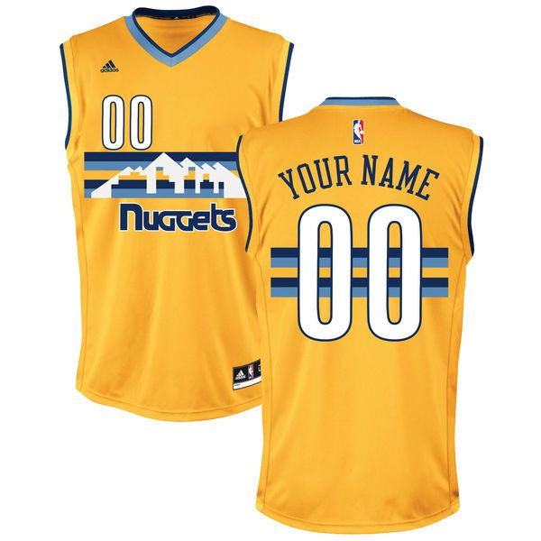 Men Denver Nuggets Adidas Gold Custom Alternate Replica NBA Jersey