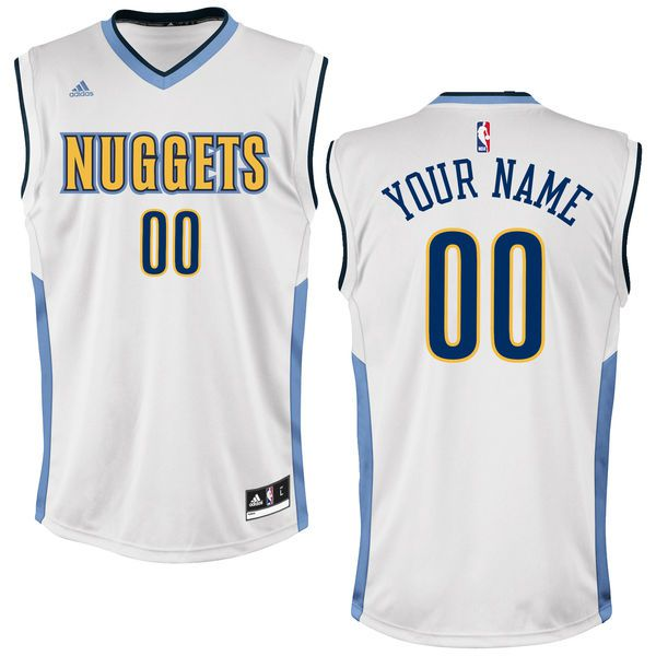 Men Denver Nuggets Adidas White Custom Home NBA Jersey