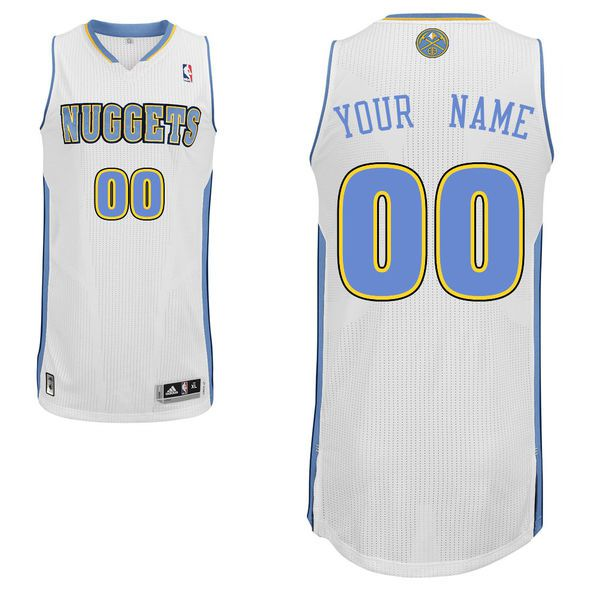 Men Denver Nuggets White Custom Authentic NBA Jersey