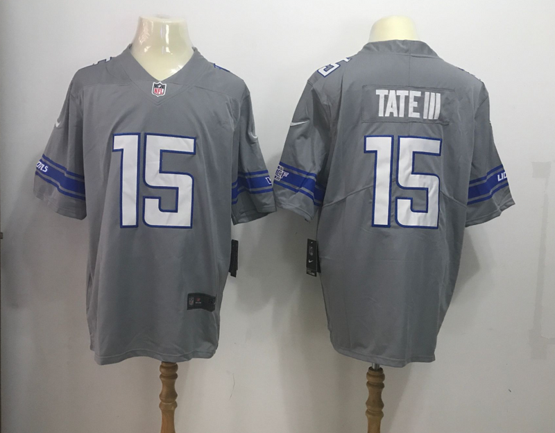 Men Detroit Lions 15 Golden Tate II Grey Rush Limited NFL Jersey
