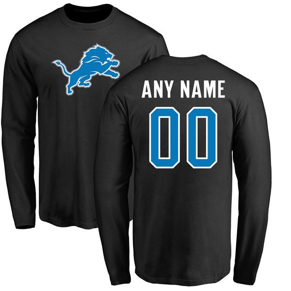 Men Detroit Lions Pro Line Black Any Name and Number Logo Custom Long Sleeve NFL T-Shirt