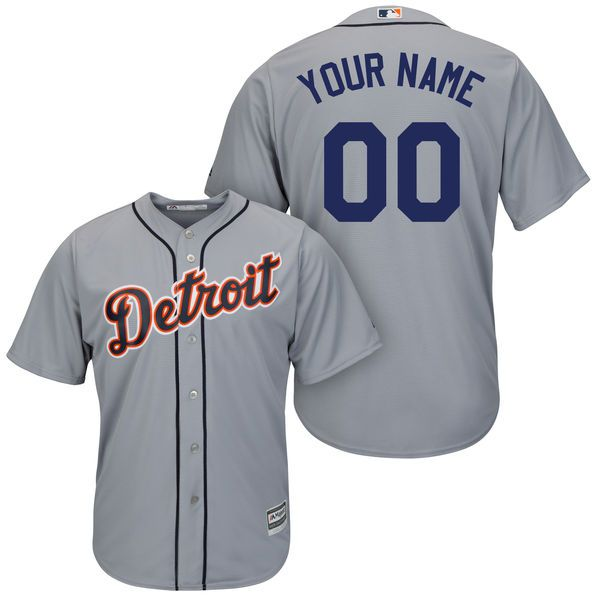 Men Detroit Tigers Majestic Gray Cool Base Custom MLB Jersey