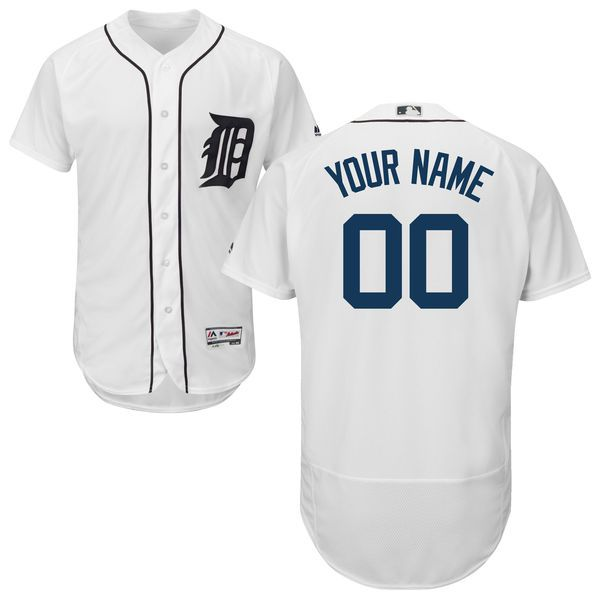 Men Detroit Tigers Majestic Home White Flex Base Authentic Collection Custom MLB Jersey
