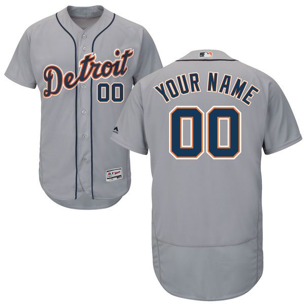 Men Detroit Tigers Majestic Road Gray Flex Base Authentic Collection Custom MLB Jersey