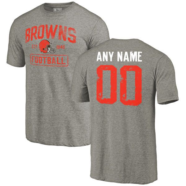 Men Gray Cleveland Browns Distressed Custom Name and Number Tri-Blend Custom NFL T-Shirt