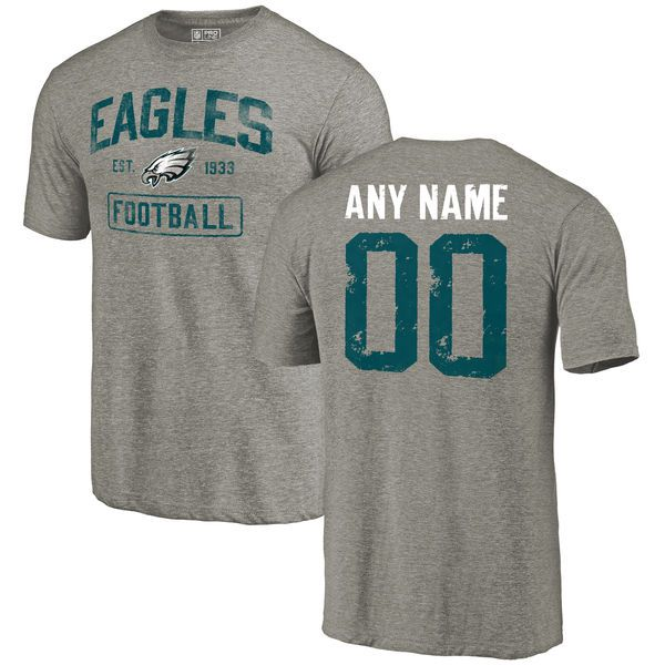 Men Gray Philadelphia Eagles Distressed Custom Name and Number Tri-Blend Custom NFL T-Shirt