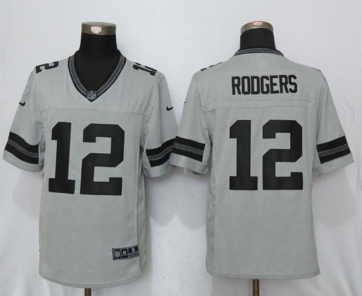 Men Green Bay Packers 12 Rodgers Nike Gridiron Gray II New Nike Limited NFL Jersey