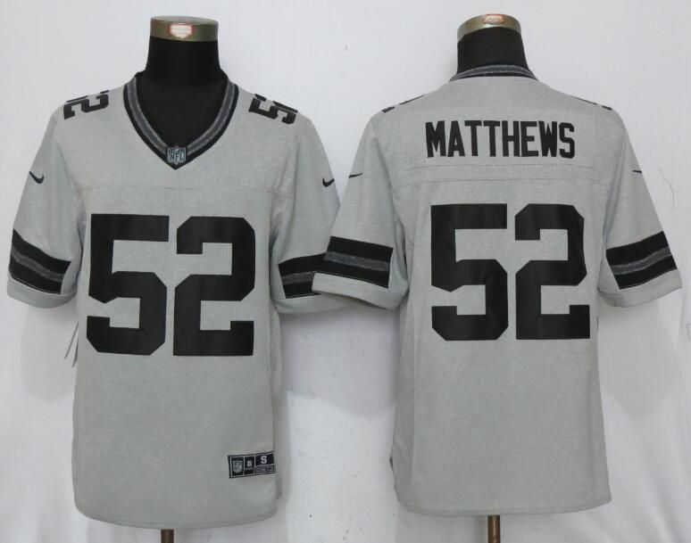 Men Green Bay Packers 52 Matthews Nike Gridiron Gray II New Nike Limited NFL Jersey