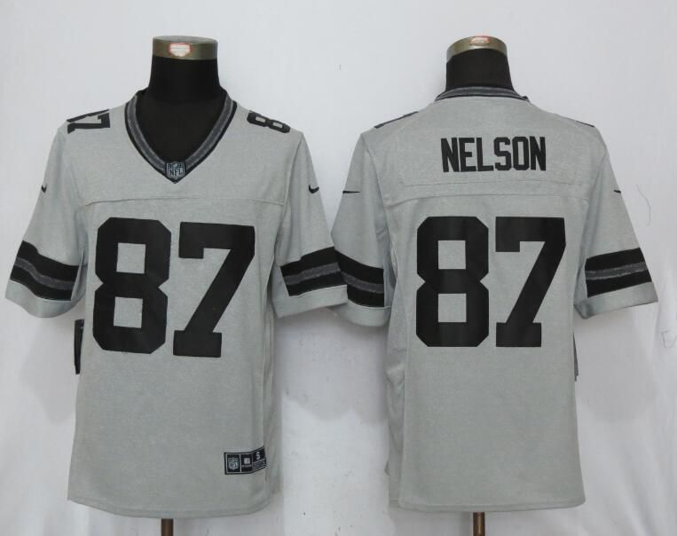 Men Green Bay Packers 87 Nelson Nike Gridiron Gray II New Nike Limited NFL Jersey