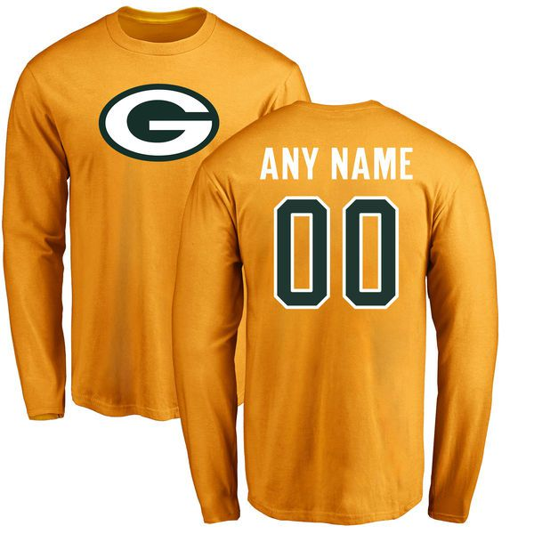 Men Green Bay Packers NFL Pro Line Gold Custom Name and Number Logo Long Sleeve T-Shirt