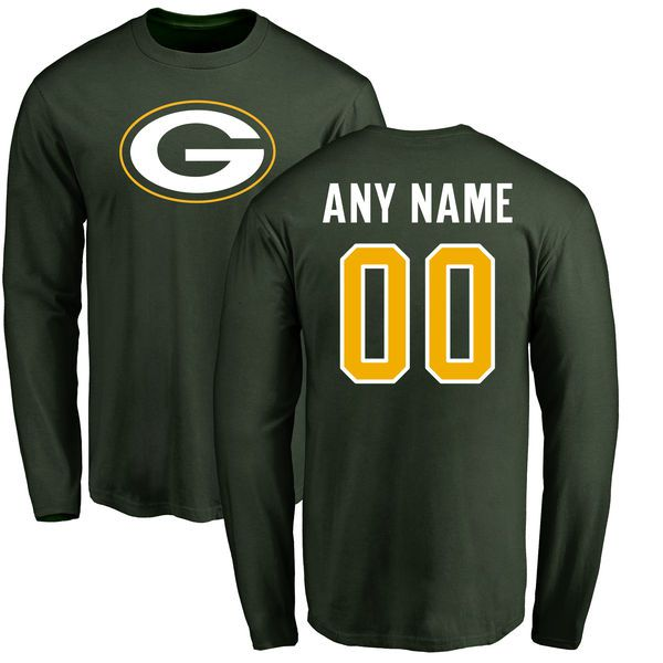 Men Green Bay Packers NFL Pro Line Green Any Name and Number Logo Custom Long Sleeve T-Shirt